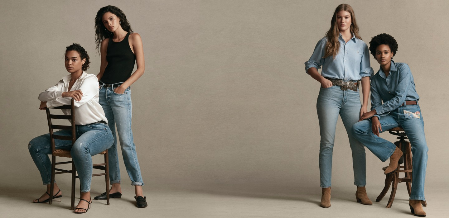 Women wearing different fits & styles of Polo denim