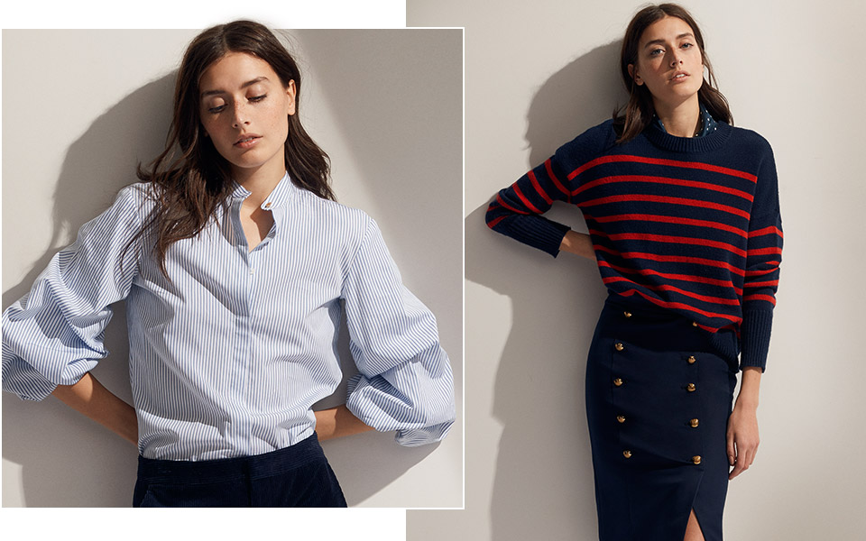 Model in blue-striped puff-sleeve shirt; Model in navy sweater with red stripes