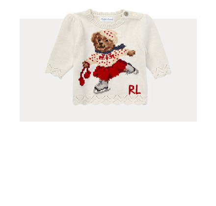 Sweater with ice-skating Polo Bear at the front.