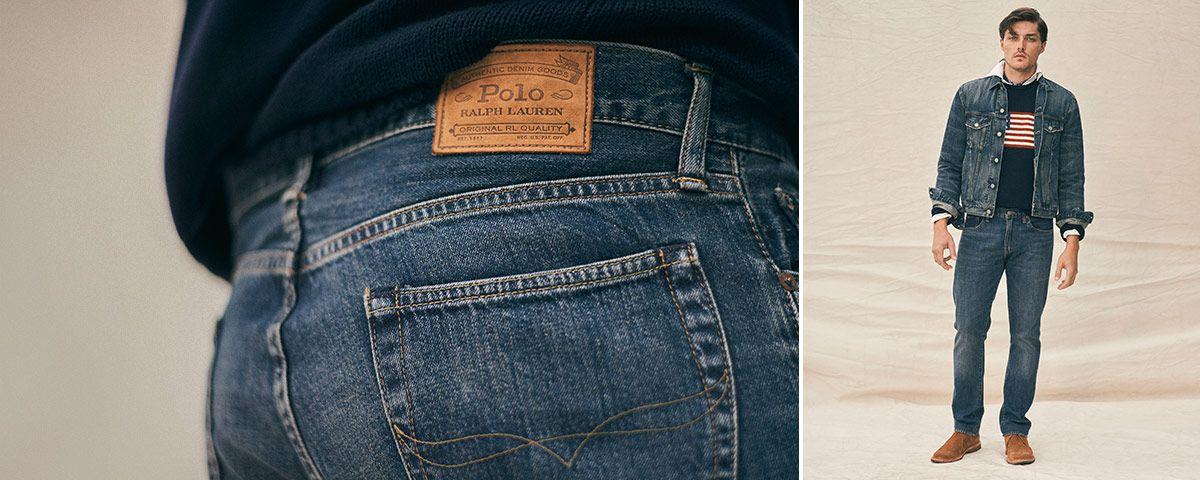 Close-up of Varick Slim Straight jean; man wears Polo denim.
