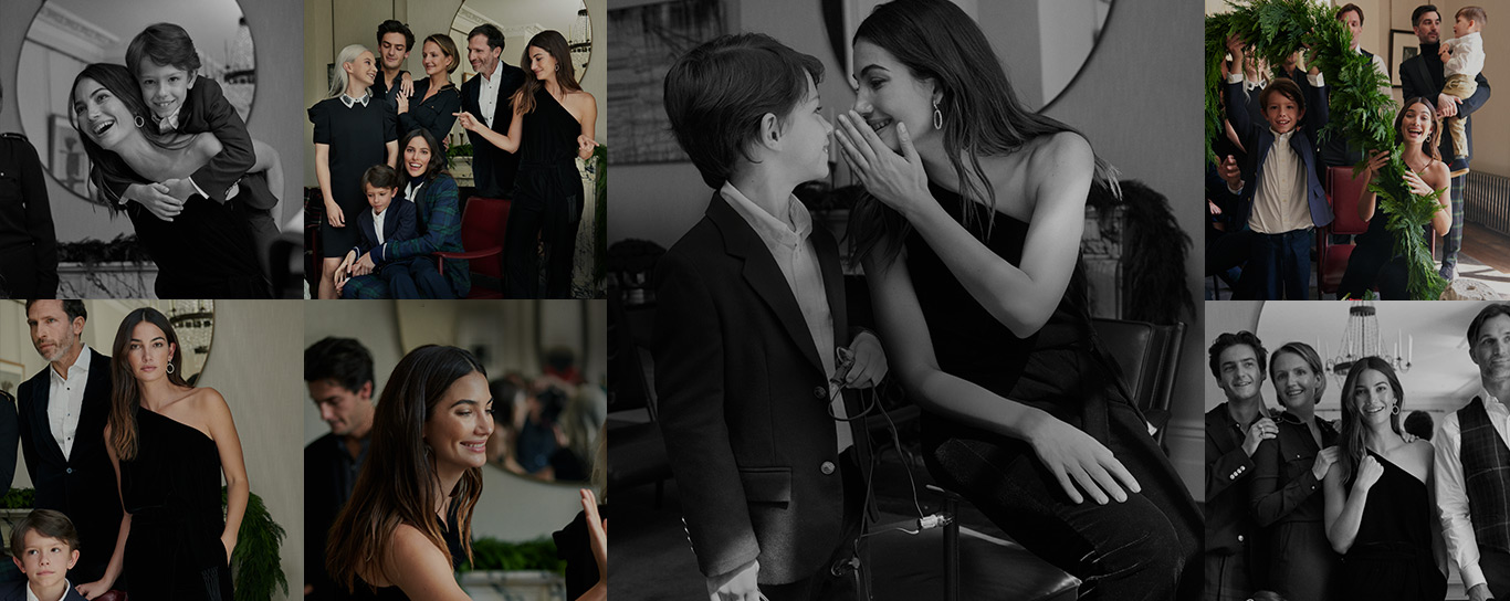 Collage of photographs of Lily Aldridge with family