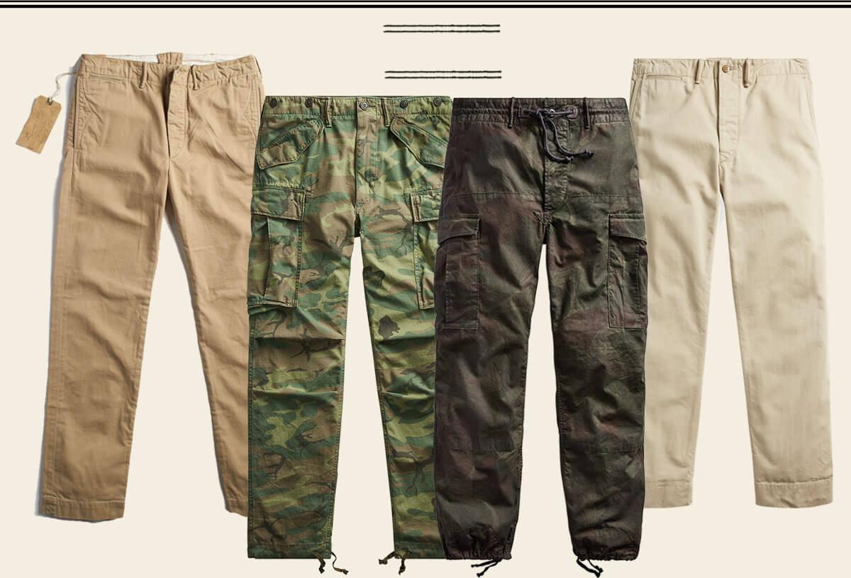 Chinos & camo pants with drawstring hems