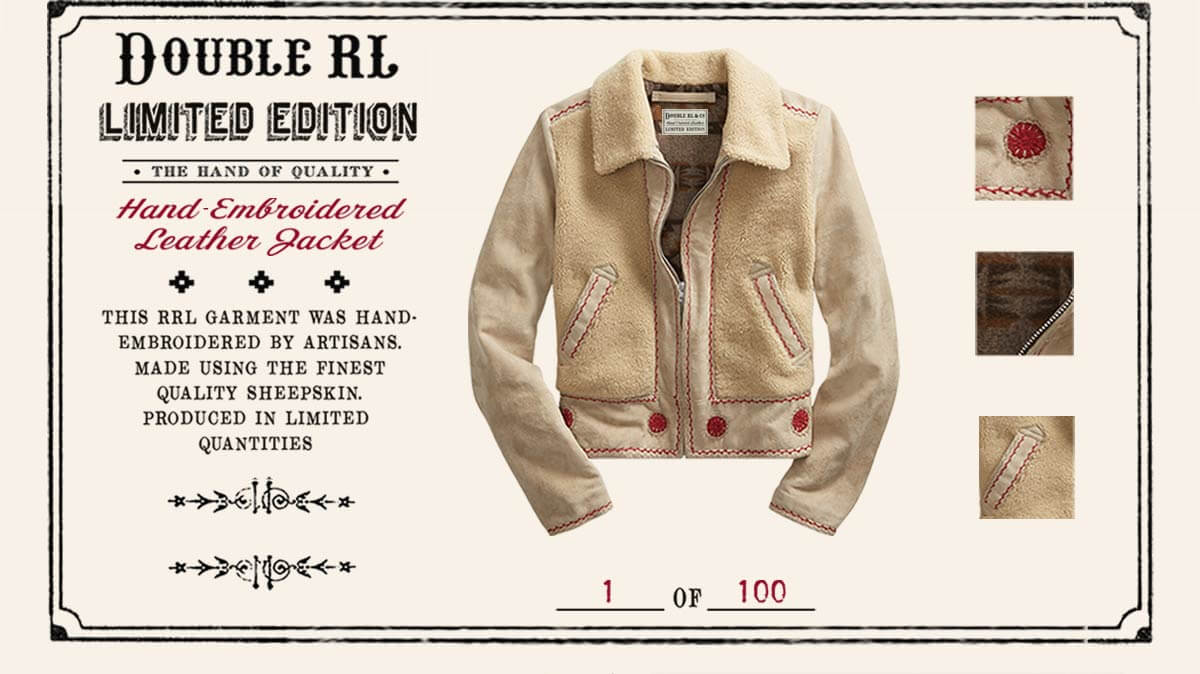 Cream shearling jacket with red trim