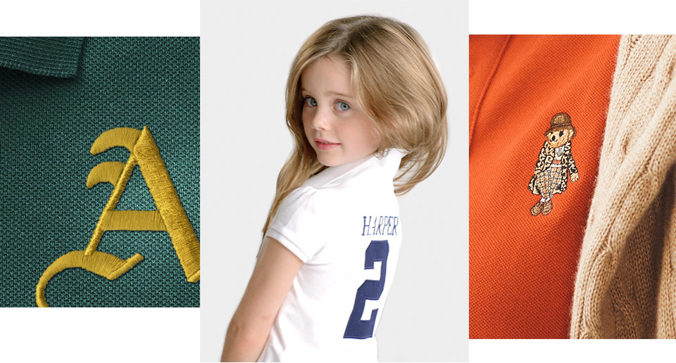 Embroidered letter A, animation of personalized Polos & embroidered Polo Bear