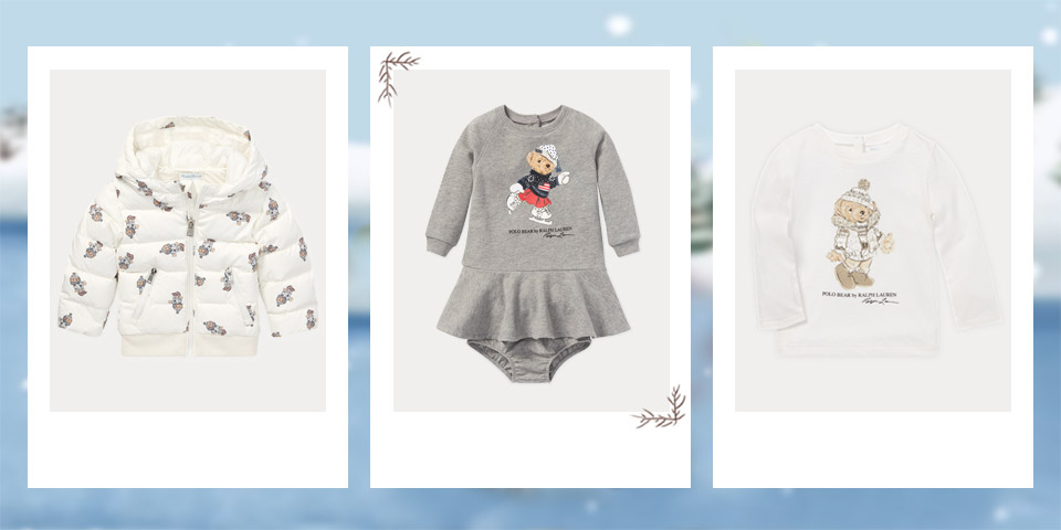 White down coat with allover pattern of winter Polo Bear. Red sweater with skiing Polo Bear at the front. Long-sleeve tee dress with ice-skating Polo Bear at the front.