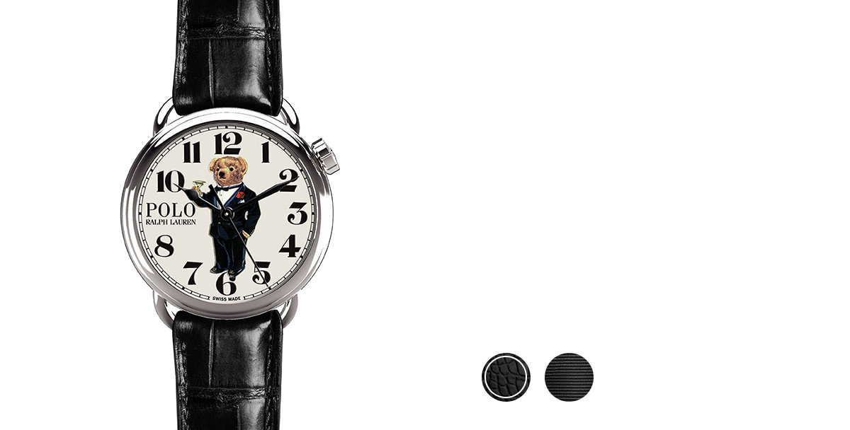 Watch with black alligator strap & printed bear in tuxedo