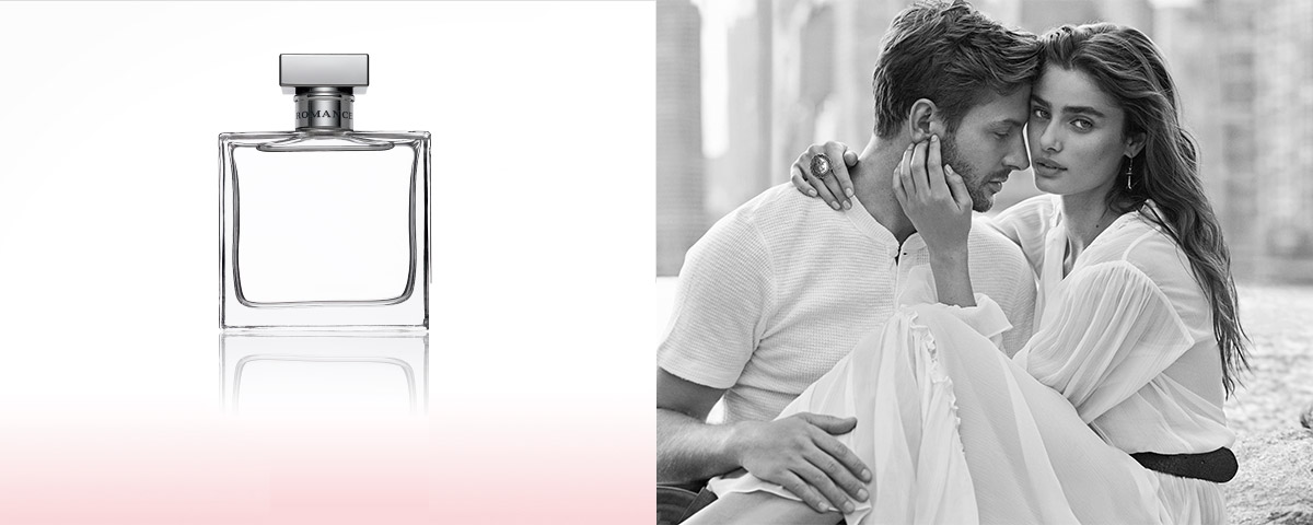 Bottles of Romance fragrance & photograph of Taylor Hill & boyfriend