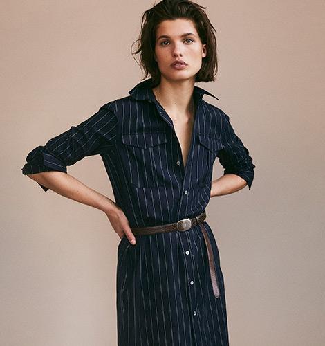 Robe-chemise de laine en milleraies