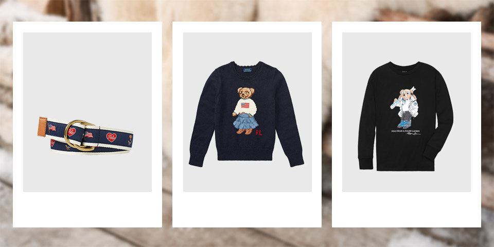 Belt with pattern of Flag Bears. Navy sweater with Flag Polo Bear at the front. White sneaker with Flag Bear at the side.