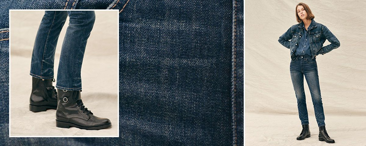 Close-up of Callen High-Rise Slim jean; woman wears Polo denim.