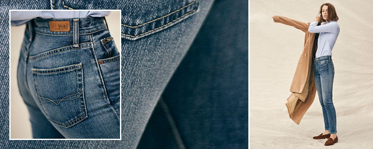 Close-up of Waverly Straight Crop jean; woman wears Polo denim.