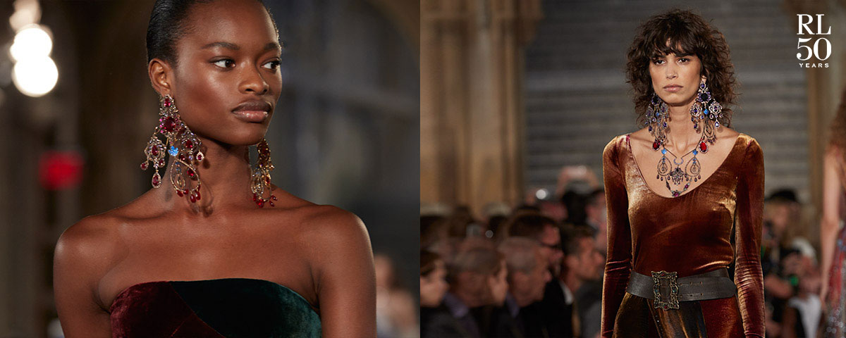 Models wear velvet looks from the 50th Anniversary Collection.