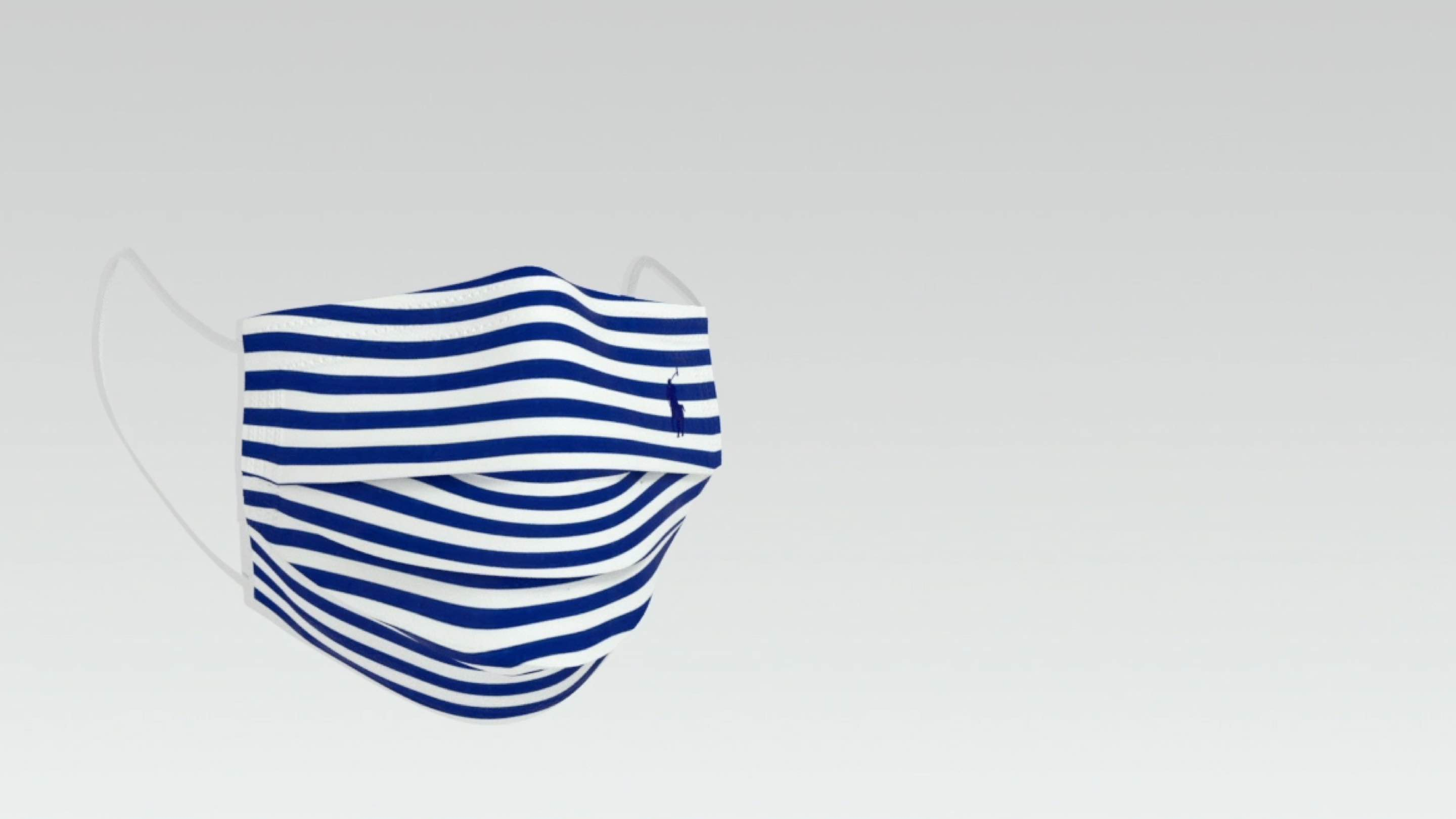Blue-and-white striped Polo cloth face mask.